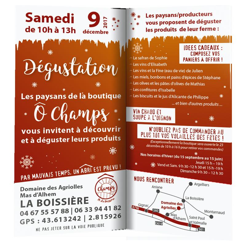 Dégustation O Champs le 9 décembre 2017