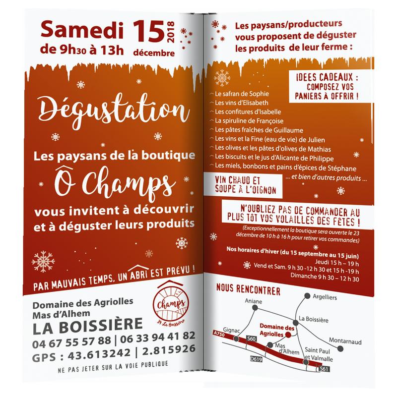 Dégustation O Champs le 15 décembre 2018