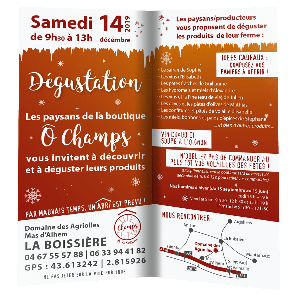 Dégustation O Champs le 14 décembre 2019